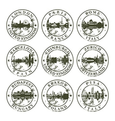 Grunge rubber stamps with london paris rome vector