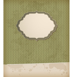 Green striped vintage background with label vector image