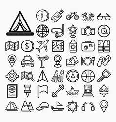 Equipment travel and sea icons vector