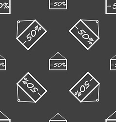 50 discount icon sign seamless pattern on a gray vector