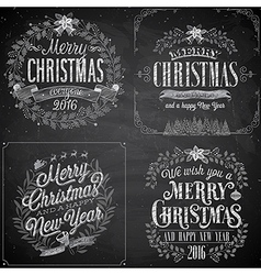 Merry christmas emblems chalk vector
