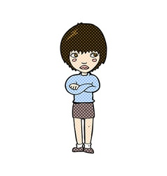 Comic cartoon annoyed woman vector