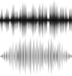 Halftone elements sound waves music waveform vector