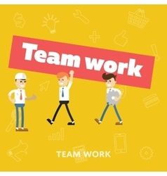 Concept of teamwork flat abstract isolated vector image