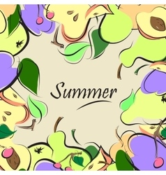 summer fruit background vector image