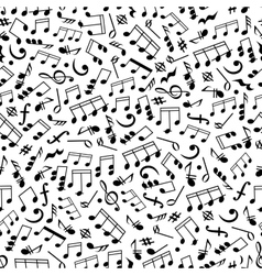 Music background with notes seamless pattern vector
