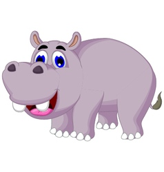 Funny hippo cartoon posing vector