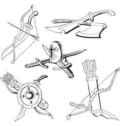 blades and medieval weapon vector image
