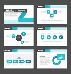 Blue black presentation templates infographic set vector