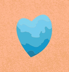 Blue heart on an orange background vector