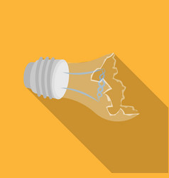 Broken lightbulb icon in flate style isolated on vector