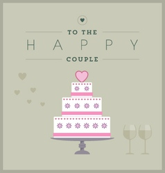 Cake themed wedding card vector image