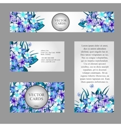 Cards with texture of blue flowers and sample text vector image