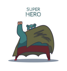 cartoon hand drawn super hero character with cloak vector image