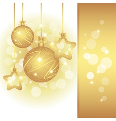 christmas greeting card on sparkling golden color vector image vector image