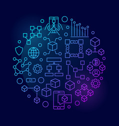 Colorful blockchain concept circular symbol vector