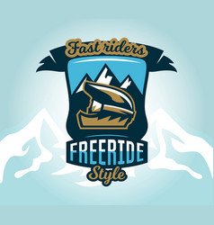 Colorful logo emblem sticker extreme cyclist vector