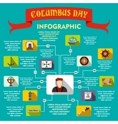 Columbus day infographic flat style vector