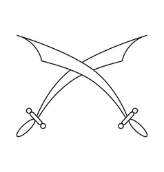 Crossed scimitars icon in outline style vector image
