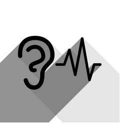Ear hearing sound sign black icon with vector