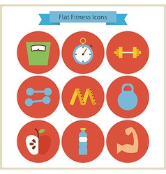 Flat Sport and Fitness Icons Set vector image vector image