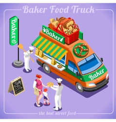 Food truck 12 isometric vehicles vector