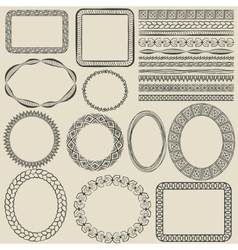hand-drawn seamless borders vector image