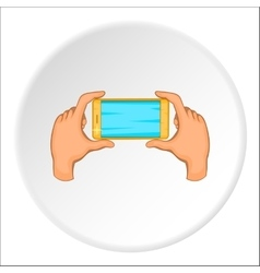 Hands holding cell phone icon cartoon style vector image