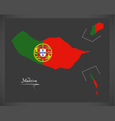 madeira portugal map with portuguese national flag vector image vector image