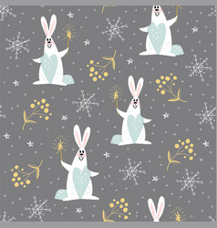 new year pattern with rabbits vector image vector image