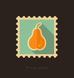 Pear flat stamp fruit vector