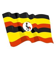 political waving flag of uganda vector image vector image