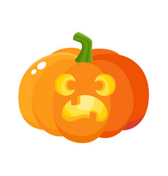 pumpkin jack-o-lantern with scared face cartoon vector image vector image