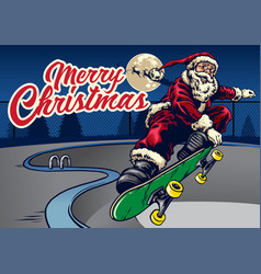 santa claus playing skateboard in the pool vector image vector image