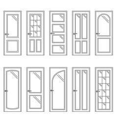 set of contours of doors vector image