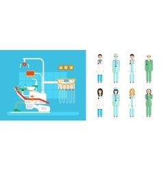 set of dental office with dental chair medical vector image