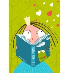 Smart Cute Little Girl Reading Fairy Tale Book vector image