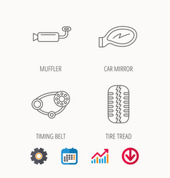 Tire tread car mirror and timing belt icons vector