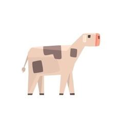 Toy simple geometric farm baby cow browsing funny vector