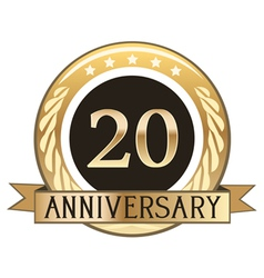 Twenty year anniversary badge vector