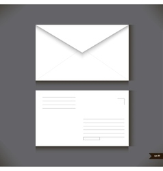 Two white paper envelope on gray background vector image vector image