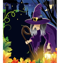 Wicked witch near the castle vector