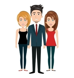 Cartoon women and man standing human resources vector