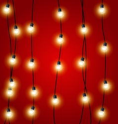 Hanging vertical christmas lights garlands vector