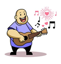 Fat kid sing love song vector