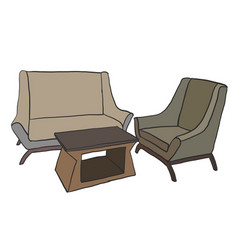Furniture sofa set vector