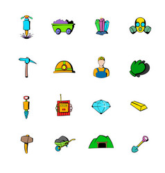 Mining industry icons set cartoon vector