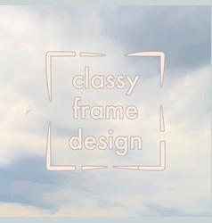 classy frame design clouds vintage background vector image