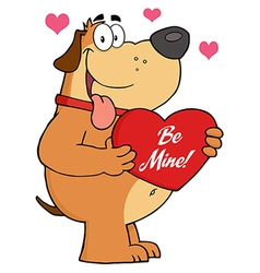Fat Dog Holding Up A Red Heart With Text vector image