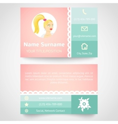 Retro business card set template with flat user vector